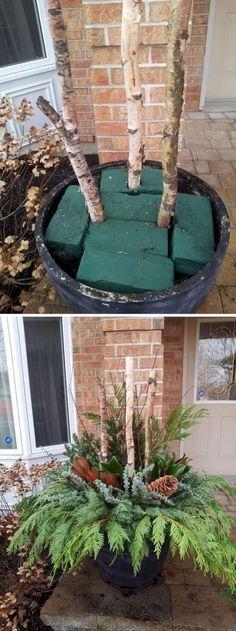 DIY Pine and Birch Branch Planter