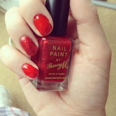 Red and glitter nail varnish - Barry M