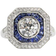 Art Deco Platinum Old European Diamond & Sapphire Ring