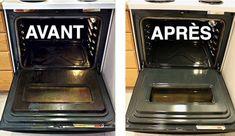 Four propre avant après nettoyage avec dégraissant fait maison