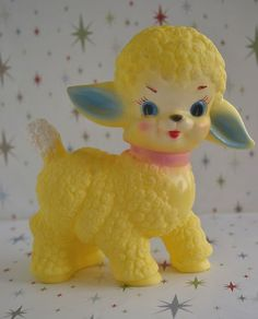 Yellow  Sun rubber vintage style Squeaky lamb