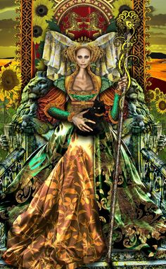 Queen of Wands revised by *Elric2012 on deviantART   oh so aries Leo or saggitarus..marvelous. grabbing, wanting fire lady