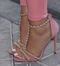 Details about Blush Gold Studded T-Strap Open Toe High Heel Sandals, US 8 - 10 - High Heels Fashion High Heels Stiletto, Open Toe High Heels, Stilettos, Pumps Heels, Heeled Sandals, Pretty Shoes, Beautiful Shoes, Talons Sexy, Hot Shoes