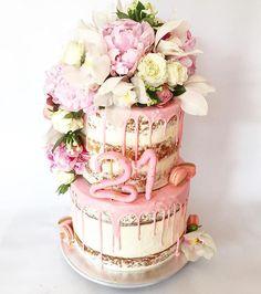 Dessert Stomach peony pink half naked cake