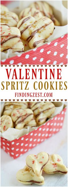 Skip rolling out dough and try these Valentine Spritz Cookies for Valentine's Day! These mini heart shaped butter cookies feature sparkling sugars and chocolate served two ways. Super fun for kids to help.