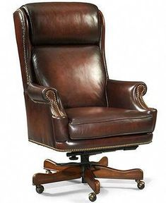 Brodrick Leather Home Office Chair, Swivel - Recliners - furniture - Macy's expensive but awesome Luxury Office Chairs, Office Chairs Online, Executive Office Chairs, Home Office Chairs, Home Office Furniture, Unique Furniture, Vitra Chair, Swivel Recliner Chairs, Eames Rocking Chair