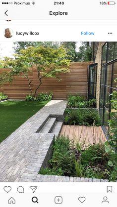 Beau look vert de chez vous. Back Gardens, Small Gardens, Outdoor Gardens, Terrace Garden, Garden Spaces, Modern Garden Design, Landscape Design, Dream Garden, Garden Inspiration