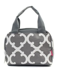 Quatrefoil Print Monogrammed Lunch Box Gray and White