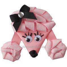 Pink Polka Dot Poodle RIbbon Sculpture