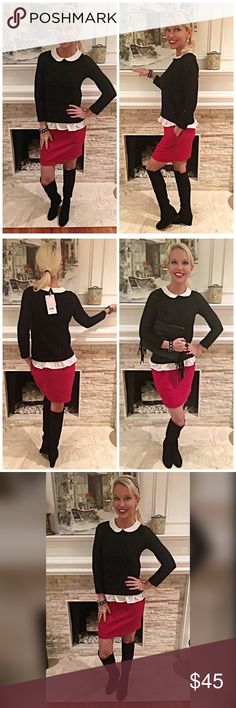 Stunning light black sweater with ruffle & collar! Purchased in Paris - this light adorable sweater has tiny black sequins sewn into light sweater fabric- bay keyhole closure- lovely piece- skirt available as well! Naf Naf Sweaters