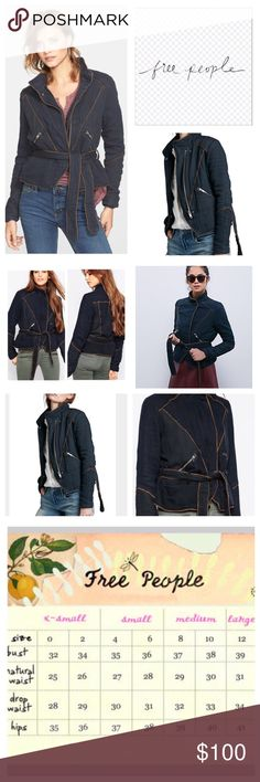 """Free People Double Cloth Motor Jacket.  NWT. Free People Black Double Cloth Twill Motor Leather Trim Jacket, 100% cotton, machine washable, 22"""" armpit to armpit (44"""" all around), 19"""" arm inseam, 24"""" length, two front zipper pockets, belted, brown contrast leather trim and houndstooth print, full front zip, stand collar, color is a washed black, measurements are approx.  NO TRADES Free People Jackets & Coats"""