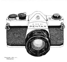 Pen & Ink Drawing, A4 - Pentax 35mm SLR by PetesPiccies on Etsy