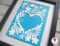 Heart Of Flowers Papercut Template SVG Cutting File For Cricut / Silhouette & PDF Cut Your Own Printable. Digital Download by DigitalGems on Etsy