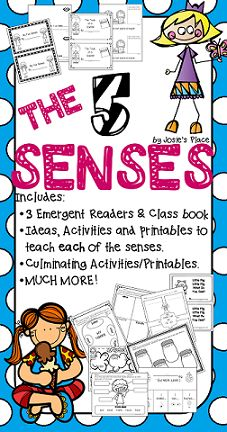 All About the 5 Senses! If you're teaching the five senses, this is a great activity packet for you and your class. It includes ideas, activities and printables to teach each of the 5 senses in addition to 3 emergent readers, class book, and culminating printables.