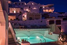 Explore the facilities and services provided by On the Rocks Santorini through our Hotel and Accommodation photo galleries Santorini Hotels, Santorini Greece, Hotel Pool, Beautiful Hotels, Beautiful Architecture, The Rock, Photo Galleries, Rocks, Mansions