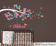Floral Branch Wall Decal - Bird Wall Decal - Wall Monogram Decal on Etsy, $55.00