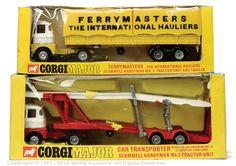 A couple of Corgi Major Scammel Trucks: Ferrymasters Carrimore Car Transporter