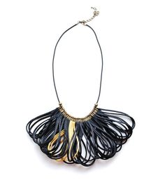 Satin Cord Statement Necklace Black and Gold by elfinadesign, $27.00
