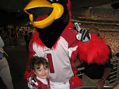 Alicia was three and a half years old, and she was so excited to see Big Red come to our seats to see her!  #Big Red #Arizona Cardinals #NFL #Football #Mascots