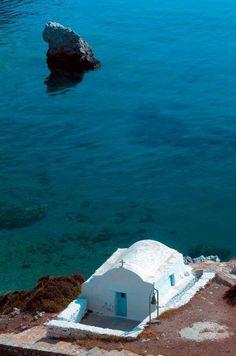 The church of Agia Anna at the homonymous beach in Amorgos island, Cyclades, Greece
