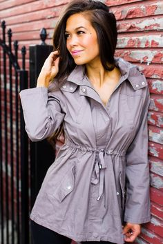 Dottie Couture Boutique, Utility Jacket, Mocha, Hooded Jacket, Cotton Fabric, Drop, Shirt Dress, My Style, Fall