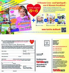Neuentwicklung der #Abowerbung für die #Zeitschrift familie&co - #Werbemittel: DinLang-Karte, Beileger - Abo-Kooperatinsmarketing,  Angebot: 8 Hefte zum Preis von 6 #Abo-Preisvorteil, Response-Aktivierung über #Karte, Deeplink und QR-Code I © Montana Medien, Hamburg - Januar 2014 I Bestellen Sie familie&co unter: www.familie.de/8fuer6 #Direktmarketing, #Print, #Verlage, #CRM, #Dialogmarketing, #Abomarketing, #Aboanzeige, #FamilyMedia Verlag, #Montana Medien BERATUNG + #AGENTUR