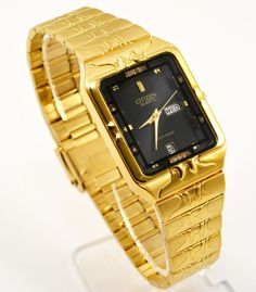 Citizen Day Date Gold Steel Rectangle Black Crystal Dial Analog Men Watch 038 #Citizen #Dress