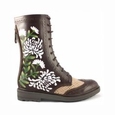 Combat Boots with flowers