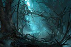 Dit is het Demsterwoud. Aan de rand van dit bos woont Thranduil met zijn elven. Bilbo moet door dit bos samen met de 13 dwergen. Het woud is vervloekt en de dwergen en Bilbo zien dingen die er niet zijn. Onderweg worden ze ook nog aangevallen door reusachtige spinnen. Net op het moment dat ze dachten dat ze verloren hadden kwam het leger van Thranduil hen te hulp en namen hun vervolgens gevangen.