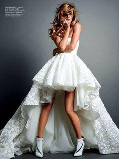 Beautiful Ivory wedding gown / asymmetrical hem dress