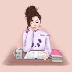 رأيـكم @marwaali4 #marwa draw #sketchbookpro #mydrawing #drawing #style #draw #artist #sketchbook #sket Cute girl drawing Studying girl Girly drawings
