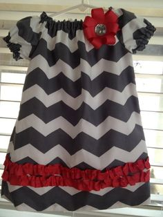 Chevron Peasant Dress by GatorThreads on Etsy,- make long sleeve - no trim - grey chevron fabric - yellow bow