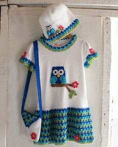 Picture of Owl T-Shirt Dress, Hat and Purse Crochet Pattern, 8.50USD