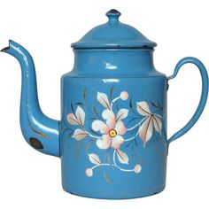 Beautiful Hand-Painted Floral Enamelware Coffee Pot