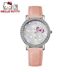 Fashion Hello Kitty Luxury Rhinestone Watch Women Watches Ladies Girl Cartoon Leather Quartz Watch Lady Hour Reloj Mujer