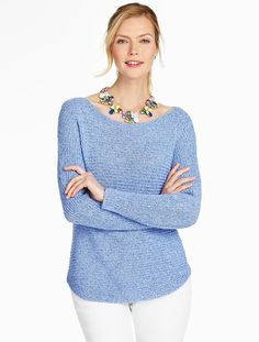 Shaker-Stitched Boatneck Sweater - Talbots