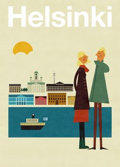 Poster Illustration: Helsinki by Blanca Gómez as part of Human Empire's Artist Series Retro Poster, Poster S, Vintage Travel Posters, Poster Prints, Art Prints, Travel Illustration, Graphic Illustration, Graphic Art, Illustrations Vintage