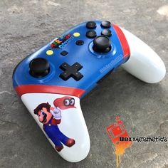 Custom Super Mario Odyssey Themed Nintendo Switch Pro Controller by 8BitAestheticsCom
