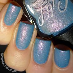 Pinned from www.lovevarnish.com  Colors by Llarowe Did You Know You're My Hero? is a muted bright blue crelly with intense pink to gold to red shimmer. It's an opaque polish that still allows the sparkle to shine through properly. I used 2 coats and topcoat.