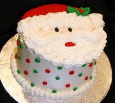 Great idea for a Christmas Santa cake Holiday Cakes, Holiday Desserts, Holiday Baking, Holiday Treats, Christmas Baking, Xmas Cakes, Christmas Cupcakes, Christmas Sweets, Santa Christmas