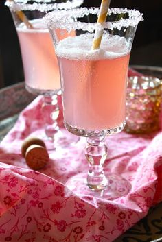 Pink Lemonade Champagne: pink lemonade - concentrate, champagne, vanilla vodka, sugar for rim.