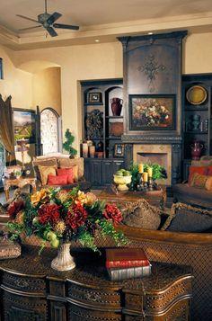 Tuscan design – Mediterranean Home Decor Tuscan Decorating, Interior Decorating, Interior Design, Decorating Ideas, Old World Decorating, Decor Ideas, Tuscan Living Rooms, Living Room Decor, Tuscan Bedroom