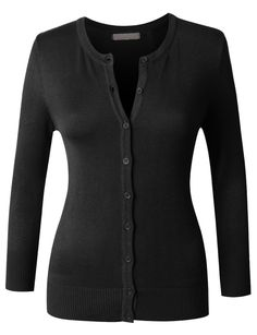 Womens Fitted 3/4 Sleeve Round Neck Fine Knit Cardigan