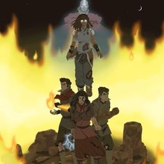 Friends protect Korra in the avatar state. In the Avatar state, the avatar is at their most powerful, but also at their most vulnerable.