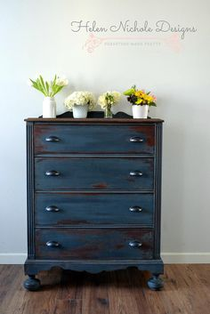 helennicholedesigns | dresser in artissimo {mms milk paint} - an idea for the boys' drawers.