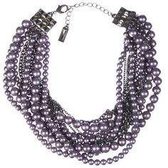 Pre-owned Lia Sophia Fuax Purple Pearl Torsade Necklace with Enhancer ($252) ❤ liked on Polyvore