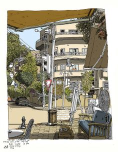 Part of a group of 'on the spot' sketches in Tel Aviv. All from coffee shops.