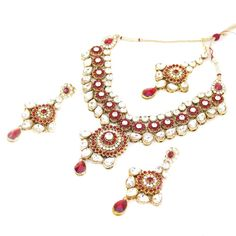 Indian Patwa Bollywood Bridal Set with Dangle Earrings Maang Tika Chokar Necklace in Red and White Stones