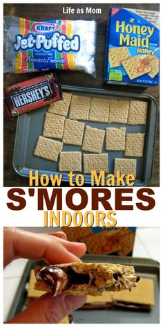 Make s'mores in the oven rain or shine with this easy recipe. S'mores indoors is so quick, you'll have chocolate on your face in less than five minutes. Oven Smores, Baked Smores, Smores In The Oven, Smores Dessert, Nachos, Cupcakes, Indoor Smores, Indoor Camping, How To Make S