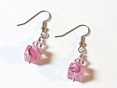 Pink Ice Cube Crystal earrings.  Surgical steel.  by NammersCrafts